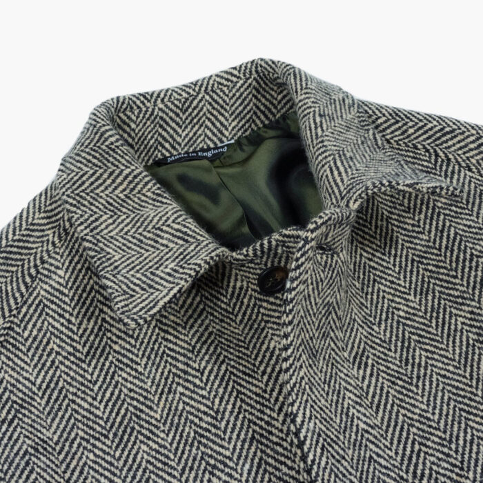 John Simons Overcoat Black and Ivory Herringbone