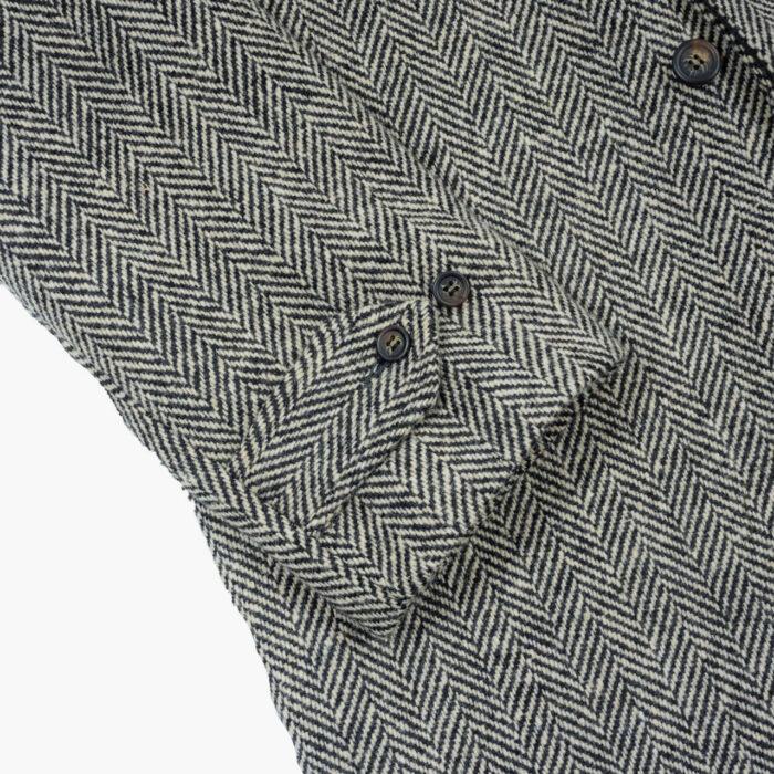 John Simons Overcoat Black and Ivory Herringbone