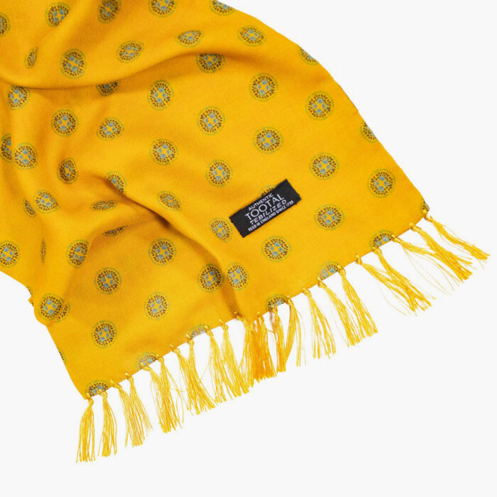 Tootal Gold Round Motif Rayon Scarf