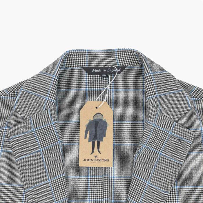 John Simons Ivy Jacket Seersucker Stretch Glen Plaid Blue