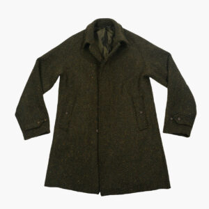 John Simons Green Herringbone Donegal Overcoat