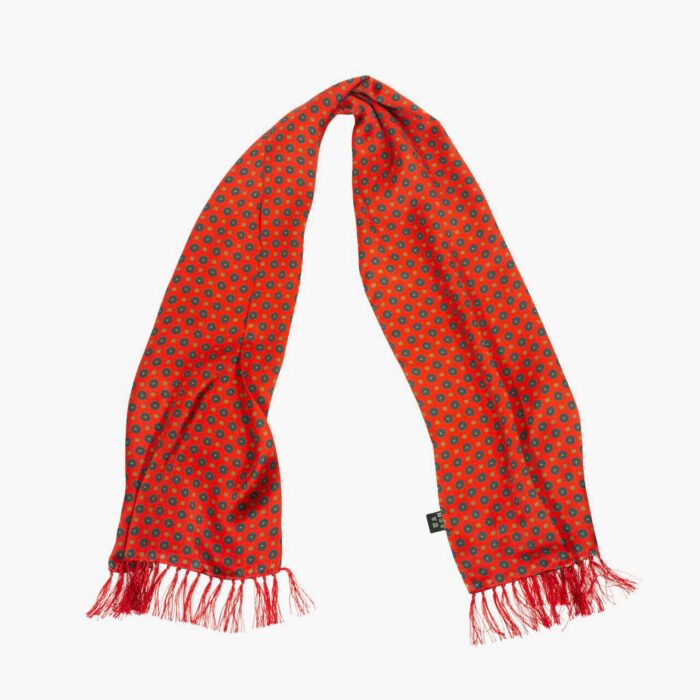 Tootal Red Mini Geometric Print Silk Scarf