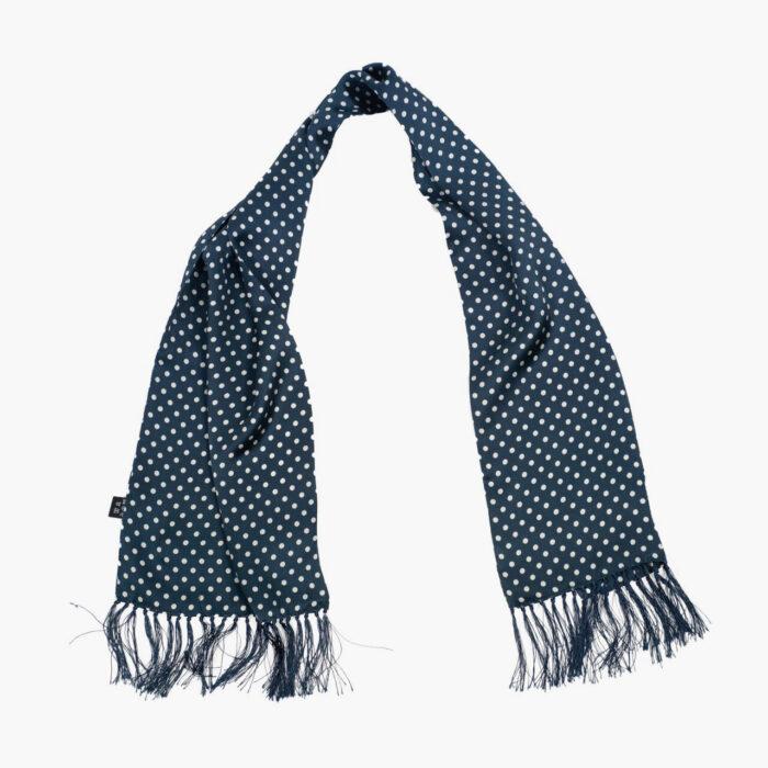 Tootal Navy Blue Large Polka Dot Print Silk Vintage Scarf