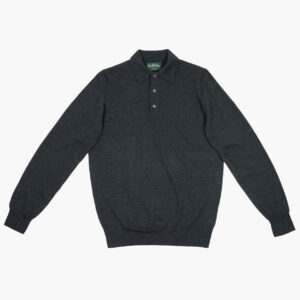 Alan Paine Merino Polo Neck Charcoal