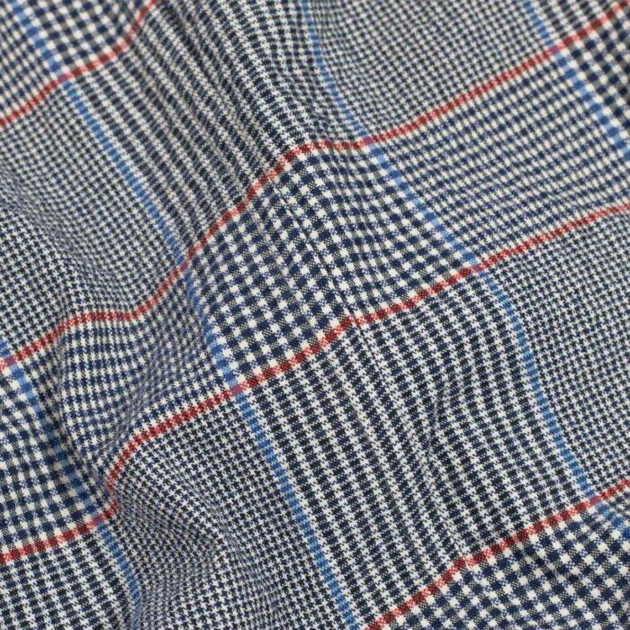 John Simons Ivy Jacket Seersucker Stretch Glen Plaid Blue and Red