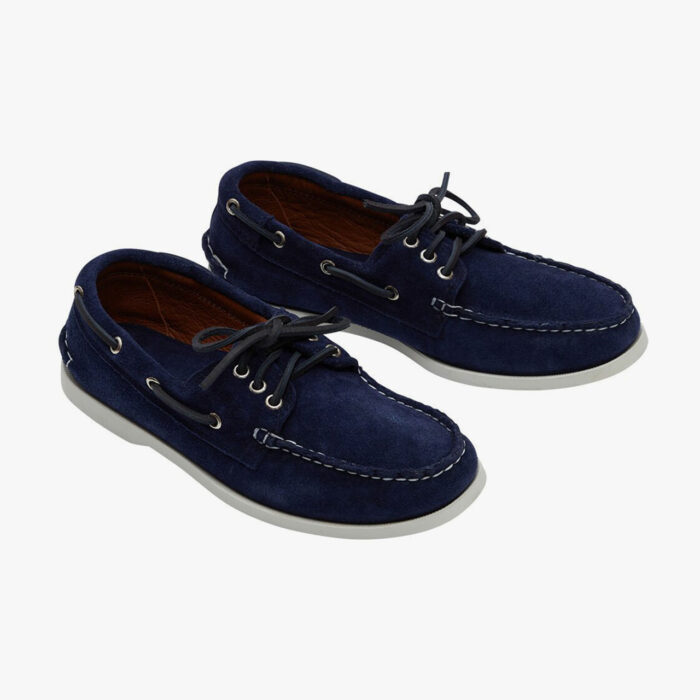 Quoddy Made in U.S. Downeast Boat Shoe Navy Suede