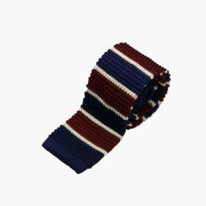 Silk Knitted Tie Navy Burgundy White