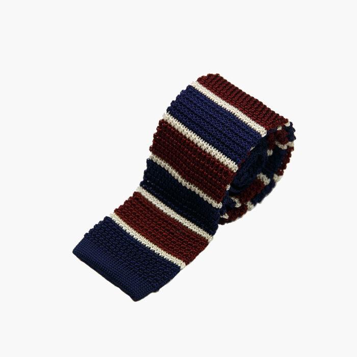 Silk Knitted Tie Navy Burgundy White