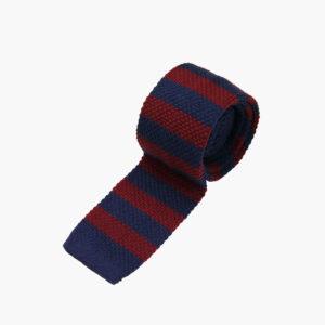 Silk Knitted Tie Burgundy Navy