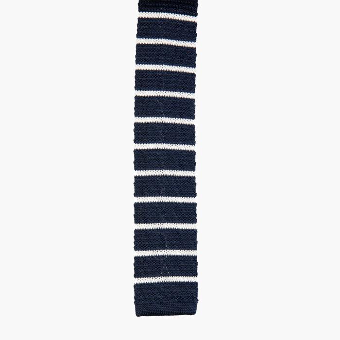 Silk Knitted Tie Navy White