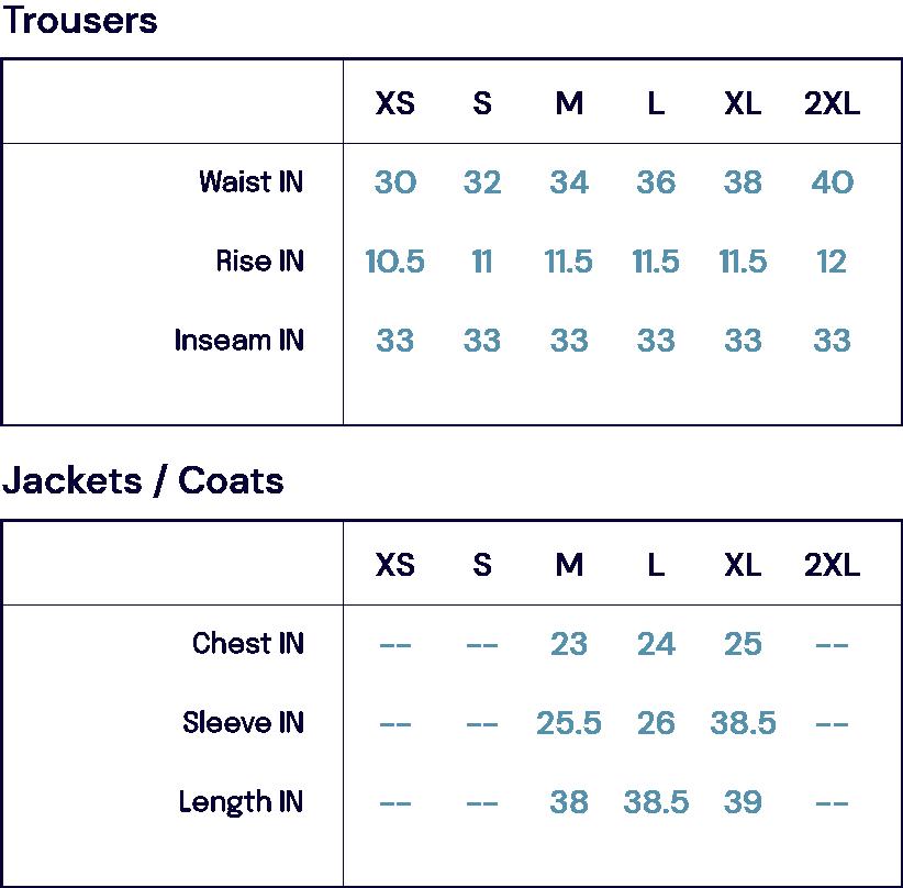 Size Charts – FOB-John Simons Menswear