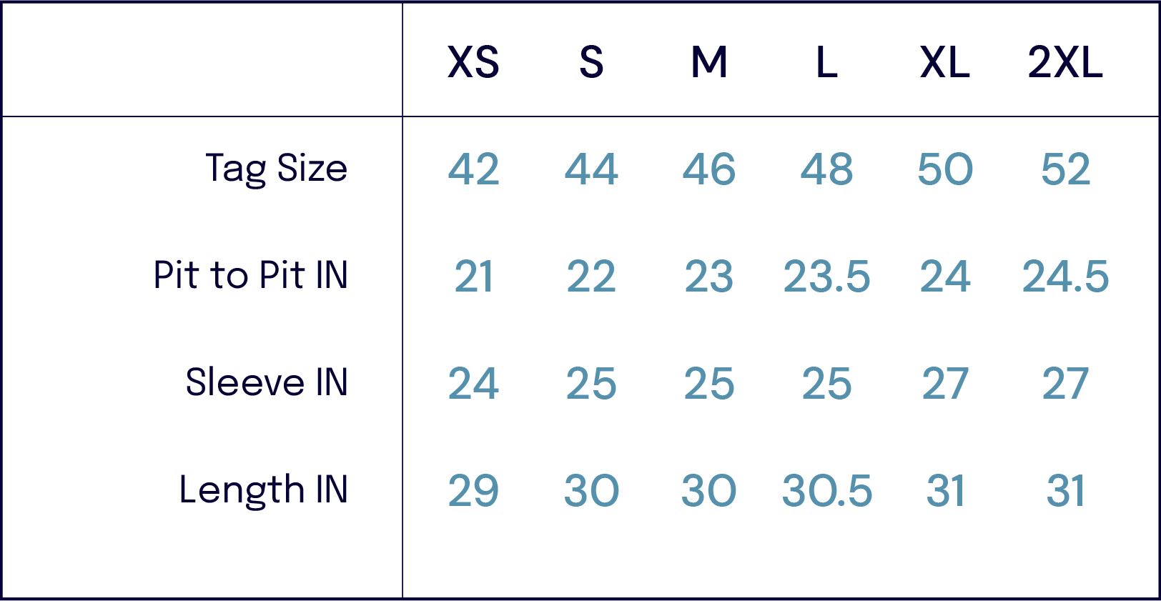 Size Charts –Vetra -John Simons Menswear